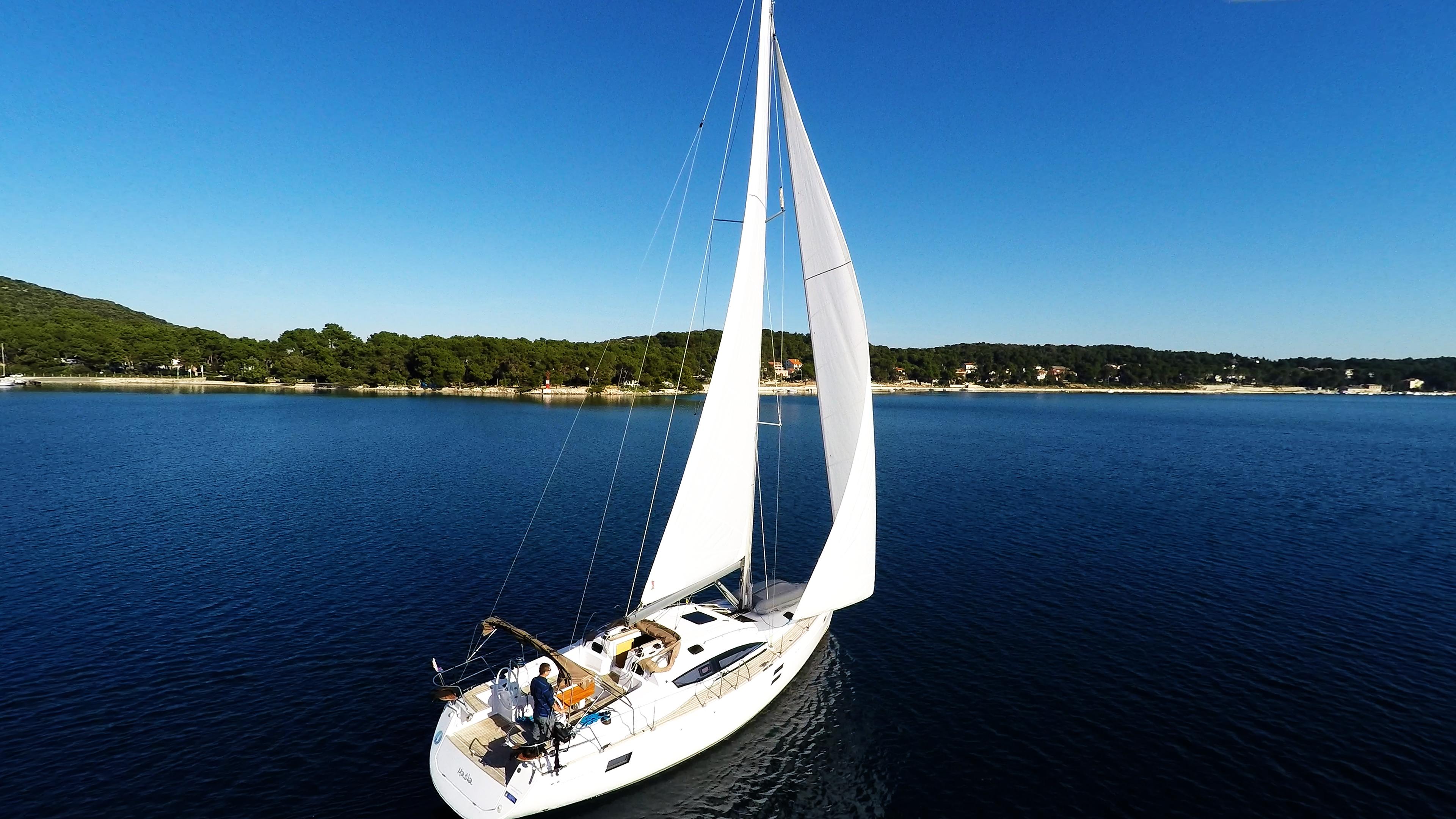 bateau à voile ciel bleu voilier elan 45 impression voile bateau à voile