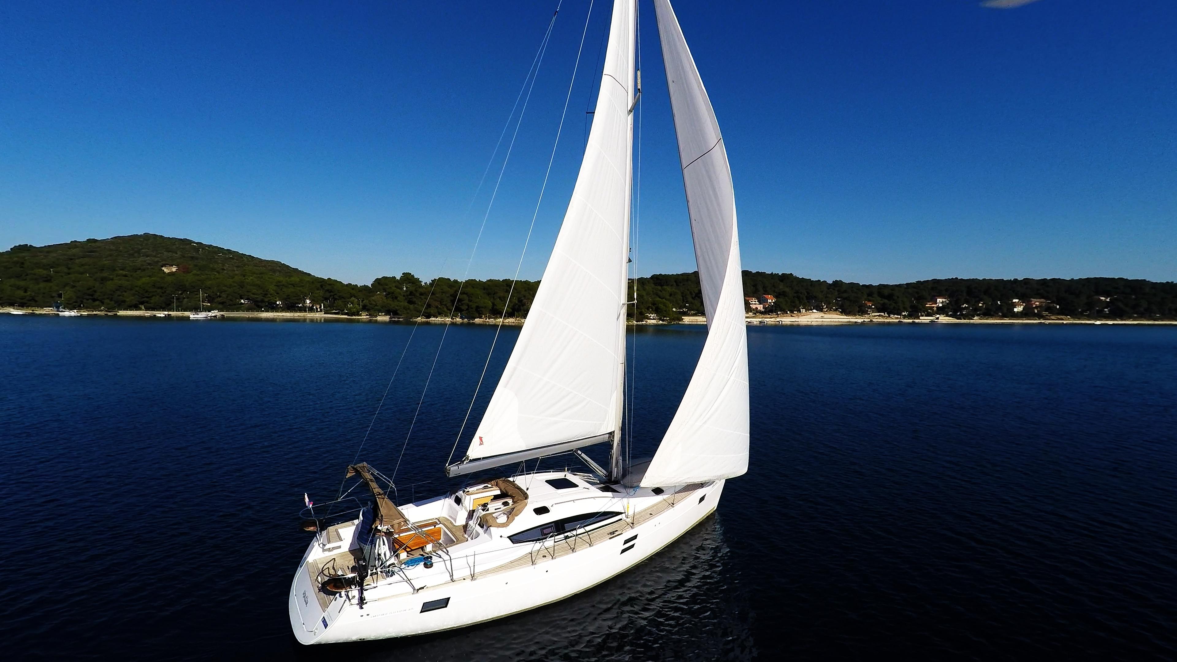 bateau à voile ciel bleu voilier elan 45 impression voiles bateau à voile