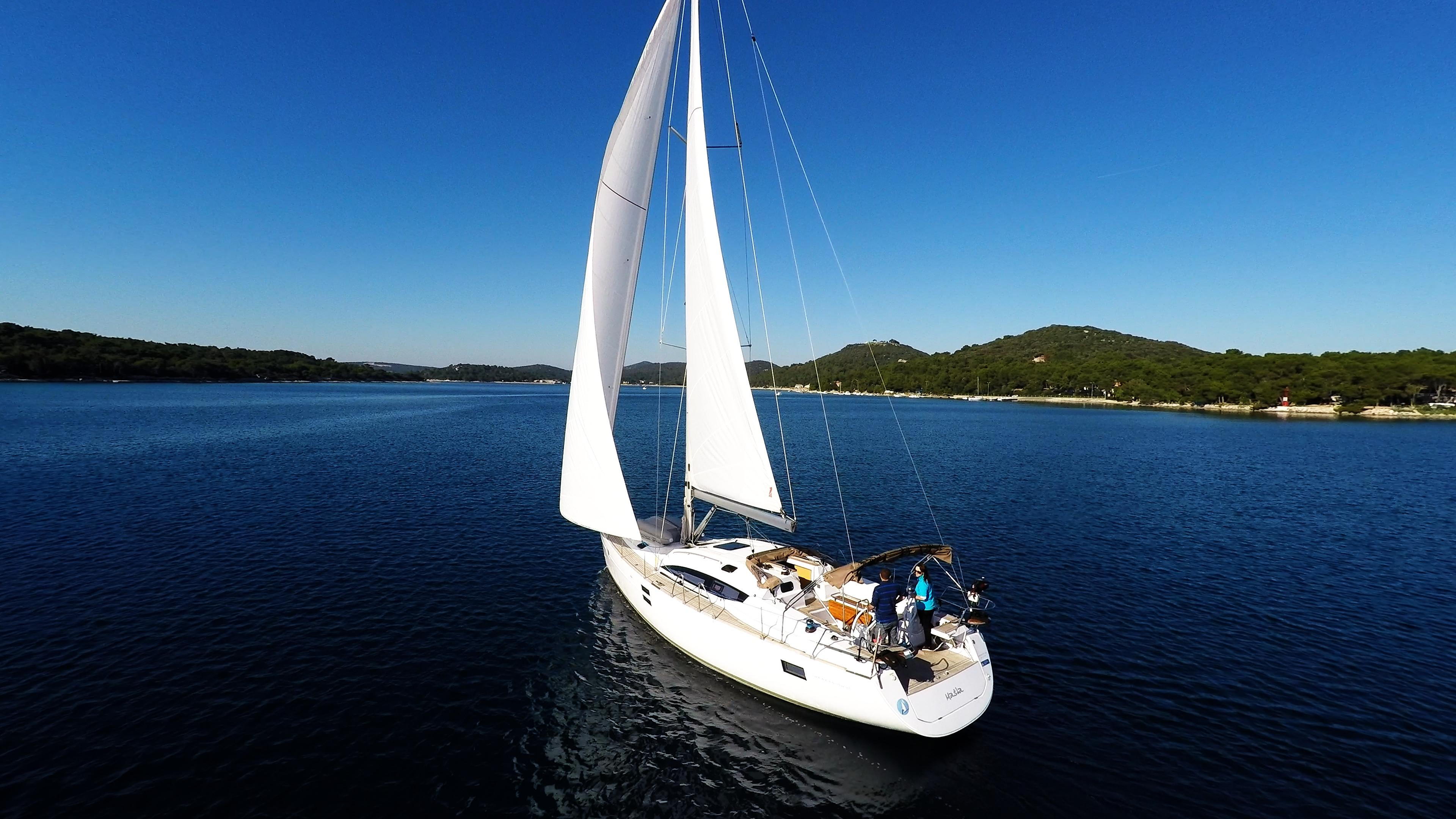 bateau à voile ciel bleu baie de mer voilier elan 45 impression voiles