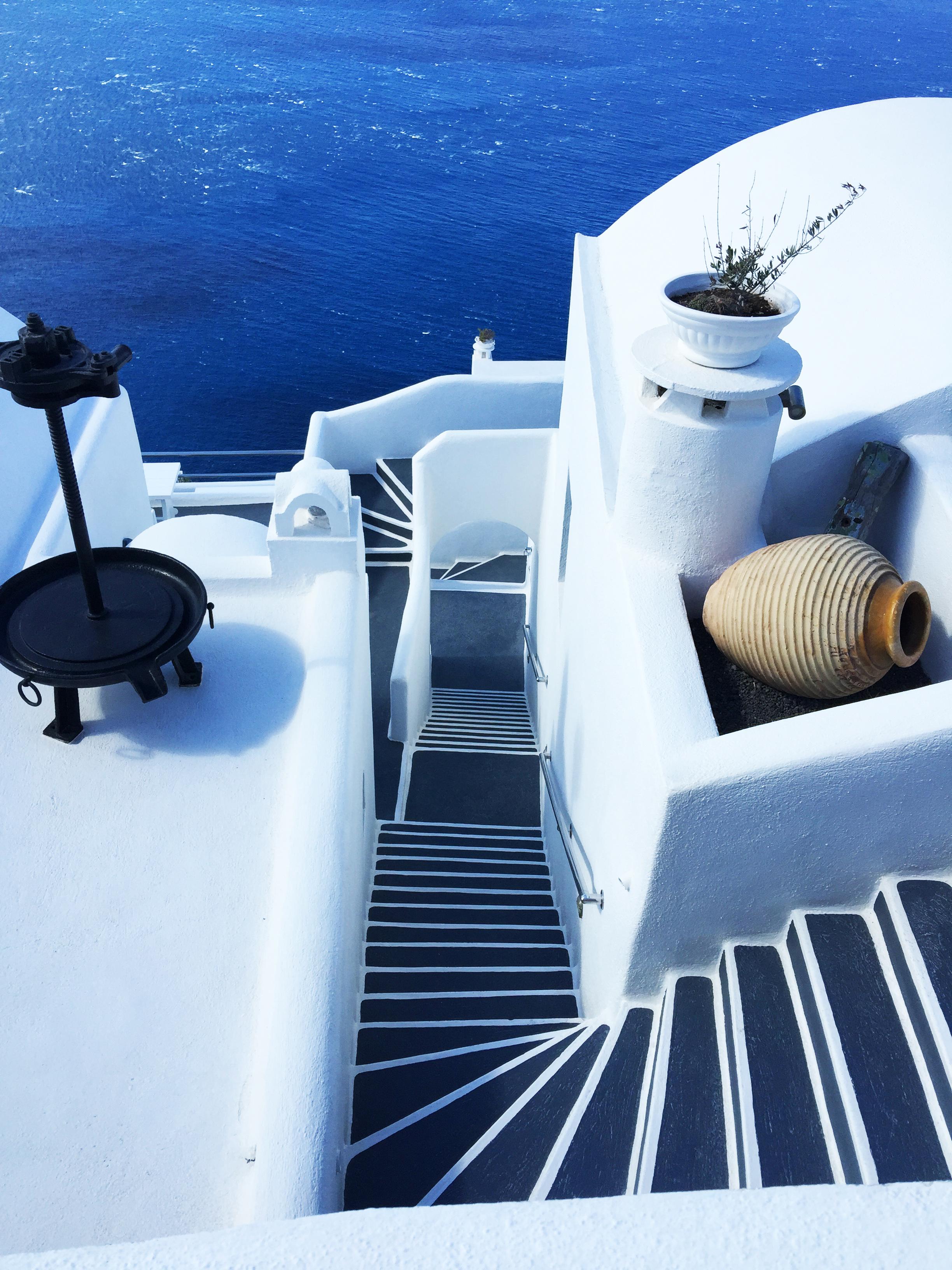 Santorin escaliers Grèce